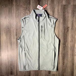 Vineyard Vines Grid Fleece Vest Men's S Grey/Gray